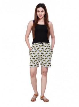 Bfly Women's Printed Cotton Hosiery Shorts (Grey)