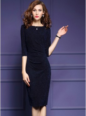 Wholesale Europe Fashion O Neck Pleated Shinning Bodycon Dress