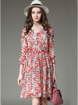 Charming Wholesale Buttons V-neck Flowers Chiffon Dress