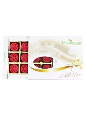 Ghasitarams Sweets Strawberry Roses 12 pcs White