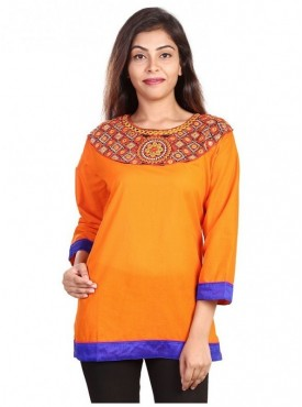 Women's Hand Embroidered Chicken Work Cotton Cambric Kurti