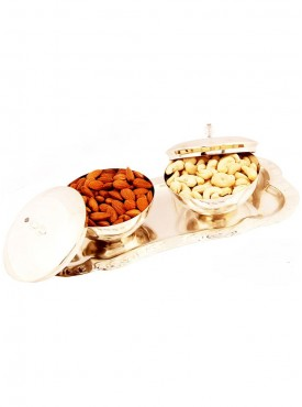 Set of 2 Silver Bowl Lid Set with Dryfruits