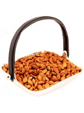 Silver Aluminum Square Tray  Handle with Almonds