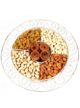 Silver Round 5 partition with Dryfruits