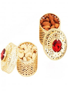 Golden Small Barnis/Jewellery Boxes with Dryfruits
