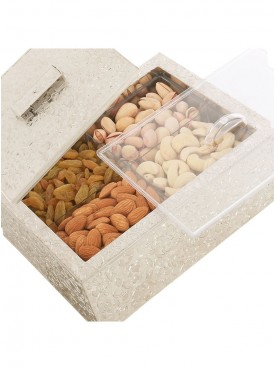 4 partition Silver Dryfruit Box