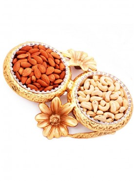 Golden Flower Bowls with Dryfruits