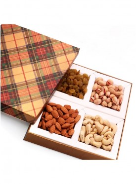Golden Checks Dryfruit Box