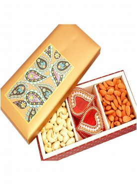 Dryfruits- Golden Printed Cashews, Almonds, Hamper Box