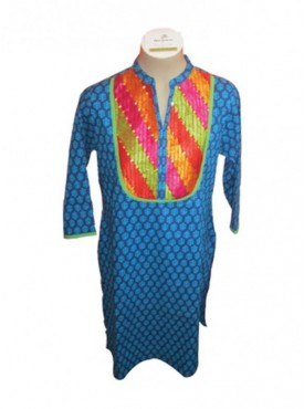 Jaipur Indigo -Phulkari Fusion Kurti with sequence