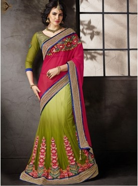 Mahotsav Blouse Fabric Brocade Green Color Lehenga Saree
