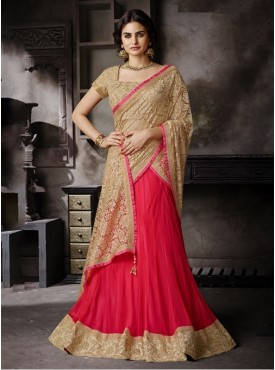Mahotsav Blouse Fabric Dhupian Beige Color Lehenga Saree