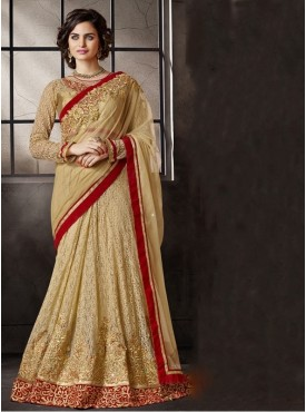 Mahotsav Blouse Fabric Brocade Jequard Net Golden Color Lehenga Saree
