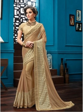 Mahotsav Thread And Cord Embroidery Blouse Fabric Raw Silk Beige Color Saree