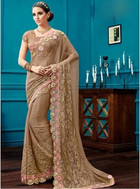 Mahotsav Fancy Net, Thread And Cord Embroidery, 3D Flowers Blouse Fabric Fancy Net Brown, Pink Color Saree