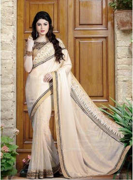Mahotsav Sequins And Thread Embroidery, 3D Flowers Blouse Fabric Brocade Gold Color Saree