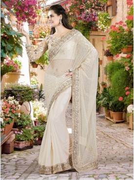 Mahotsav Thread And Zari Embroidery Blouse Fabric Net Off-White Color Saree