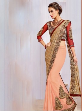 Mahotsav Zari And Cord Embroidery Blouse Fabric Brocade, Net Peach, Red Color Saree