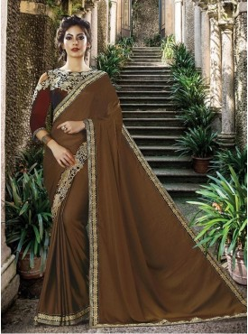 Mahotsav Thread Embroidery, Stone Work Blouse Fabric Two Tone Velvet Deep Brown Color Saree
