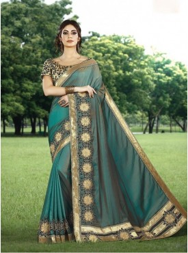 Mahotsav Laser Cut Embroidery, Applique Work Blouse Fabric Brocade Gold Color Saree