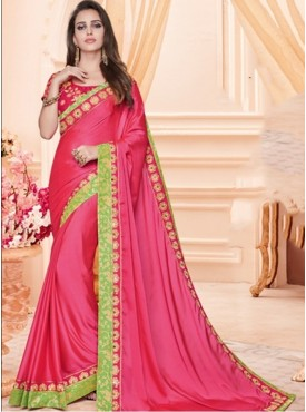 Mahotsav Thread And Sequins Embroidery Blouse Fabric Raw Silk Pink Color Saree
