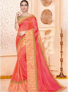 Mahotsav Zari And Badla Embroidery Blouse Fabric Brocade, Raw Silk Beige, Coral Peach Color Saree