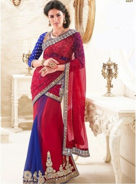 Mahotsav Art Silk , Faux Chiffon ,Jacquard Beige , Blue Color Lehenga Saree
