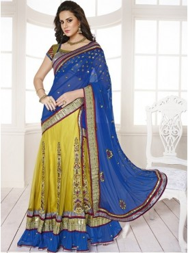 Mahotsav Art Silk Blue, Maroon , Gold Color Lehenga Saree