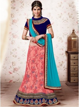 Mahotsav Velvet Navy Blue Color Lehenga Saree