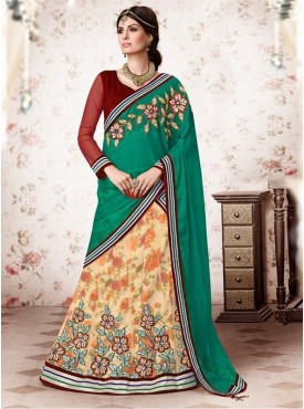 Mahotsav Velvet , Silk , Net Maroon Color Lehenga Saree