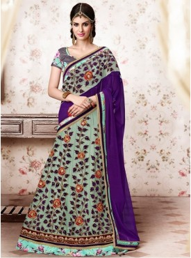 Mahotsav Printed Silk , Gota Green Color Lehenga Saree