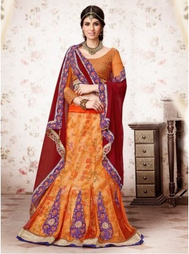 Mahotsav Brocade , Net Orange Color Lehenga Saree