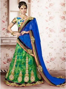 Mahotsav Printed Silk Cream Color Lehenga Saree