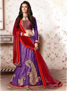 Mahotsav Brocade , Net Purple Color Lehenga Saree