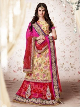 Mahotsav Net Cream Color Lehenga Saree