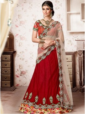 Mahotsav Brocade , Printed Silk Maroon Color Lehenga Saree