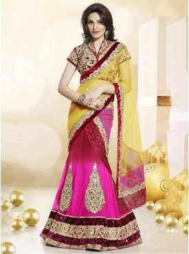Mahotsav Velvet, Art Silk , Net Red Color Lehenga Saree