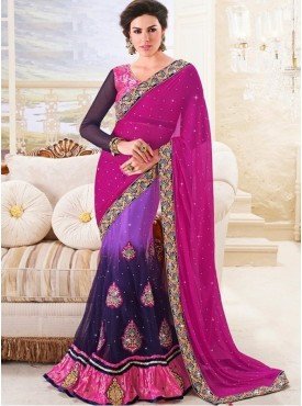 Mahotsav Art Silk, Jacquard , Net Pink , Dark Blue Color Lehenga Saree