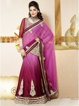 Mahotsav Art Silk , Net Maroon Color Lehenga Saree