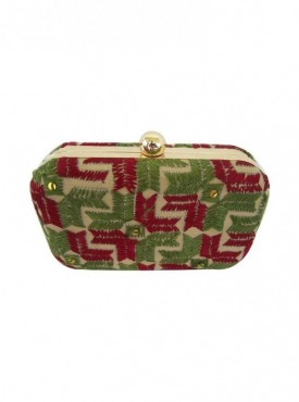 Handmade Phulkari Box clutch- Multicolor
