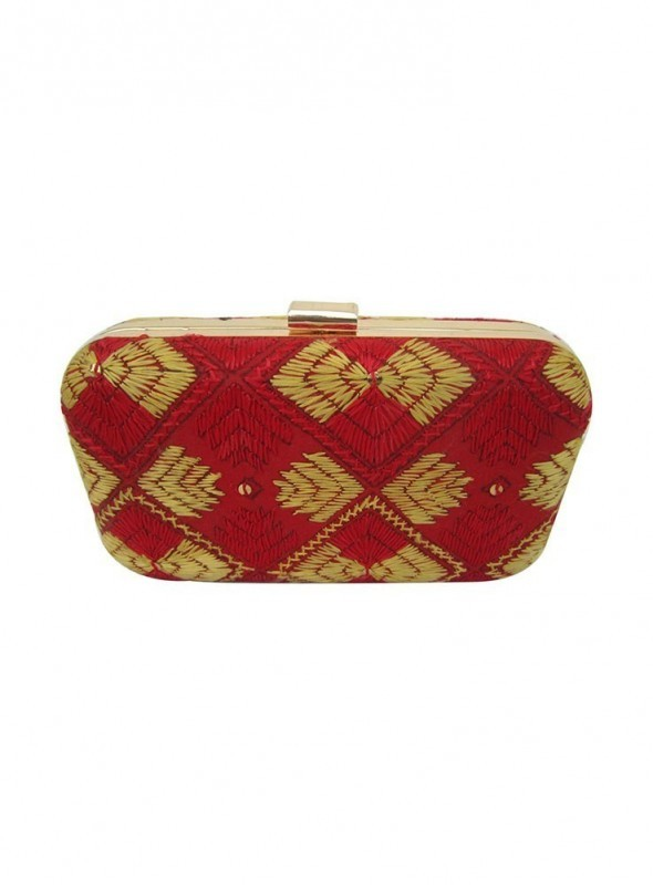 Handmade Phulkari Box clutch- Red and Gold