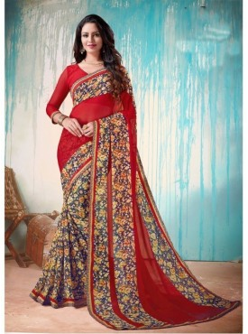Fabhub Women Red &Blue Color Designer Georgette Saree