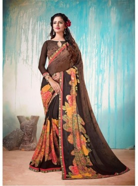 Fabhub Women Black Color Designer Georgette Saree