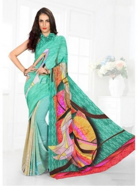 Fabhub Women Wintergreen Color Designer Digital Crep Saree