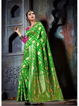 Fabhub Women Jewcl Lime Color Designer Kanjeevaram Art Silk Saree