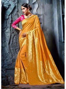 Fabhub Women Wearisome Gold Color Designer Kanjeevaram Art Silk Saree