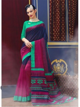 Fabhub Women Multi Color Color Designer Bhagalpuri Saree