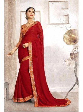 Fabhub Women Red Color Designer Faux Georgette Saree