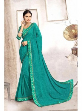Fabhub Women Jewel Teal Color Designer Faux Georgette Saree