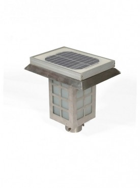 Solar Exterior Gate Bollard Lamp in Stainless Steel Body
